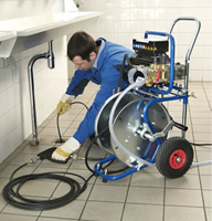 our techs use powerful drain clearing equipment